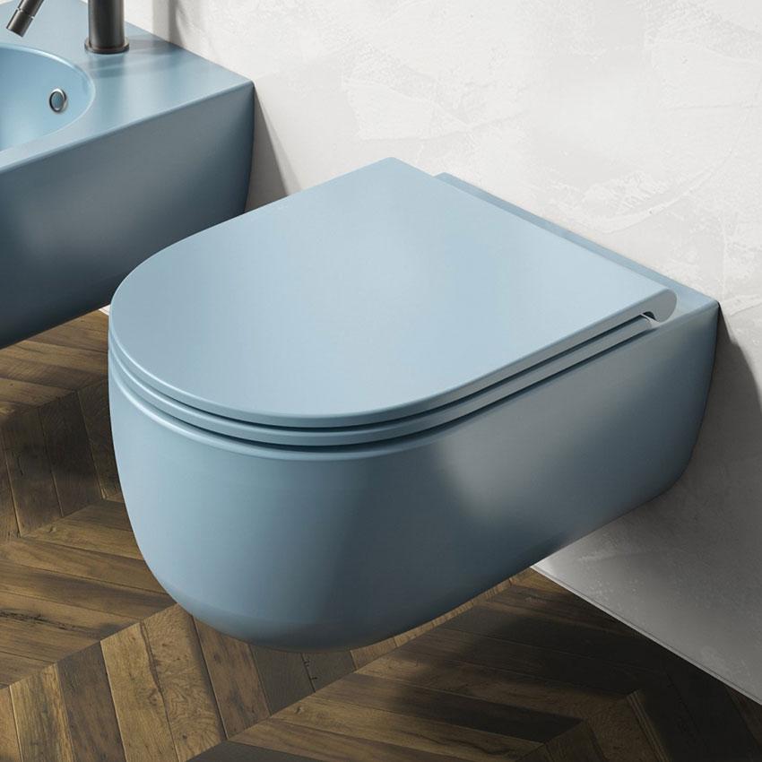 WC coloré turquoise Milady suspendu sans jante Olympia Ceramica