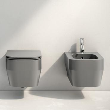 sanitario de baño gris suspendido Rimless Tutto Evo Olympia Ceramica