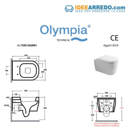 cuvette de toilette grise sans monture suspendue Tutto Evo Olympia mesure