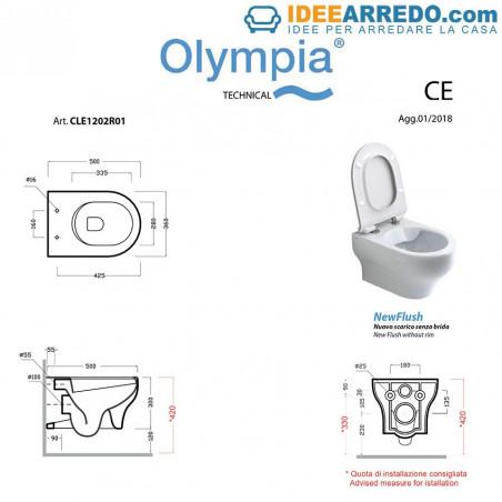sanitari neri sospesi prezzi Clear e dimensioni wc Olympia Ceramica