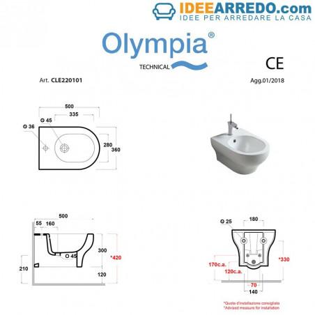 sanitari neri Clear, bidet sospeso dimensioni Olympia Ceramica