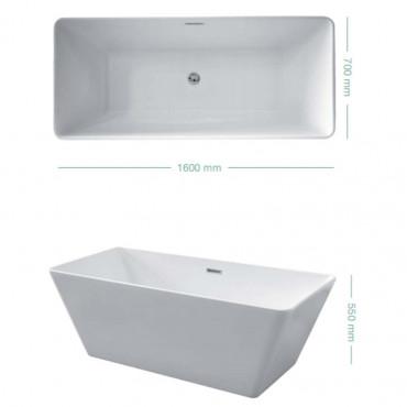 Vasca da bagno rettangolare centro stanza freestanding Firenze 160 Colacril