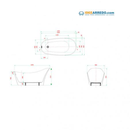 vasca da bagno ovale dimensioni Primula 167