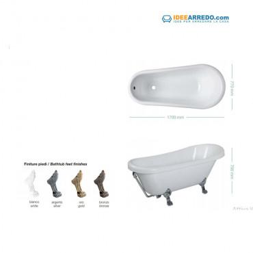 Vasca da bagno classica con piedini centro stanza freestanding Astoria 170 Colacril
