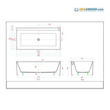 misure vasca da bagno rettangolare Quadra 180