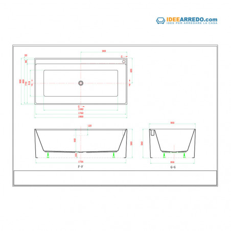 Mesures de la baignoire rectangulaire Quadra 180