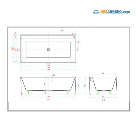 Quadra 180 rectangular bathtub measures