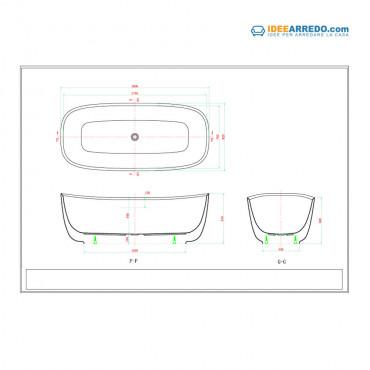 oval bathtub size Boat 180