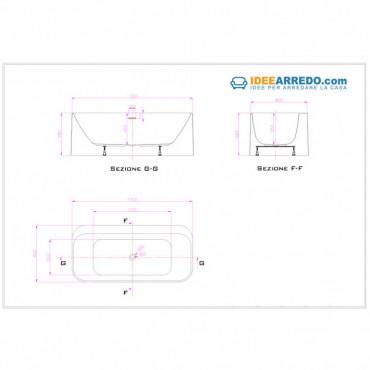 dimensions et prix de la baignoire ovale Dafne 170