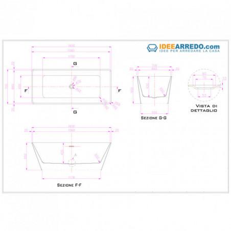 Iris 160 rectangular bathtub technical sheet