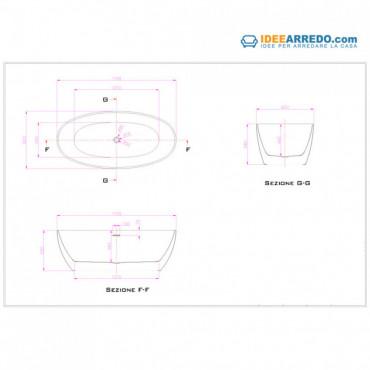 vasca da bagno ovale dimensioni Silene 170
