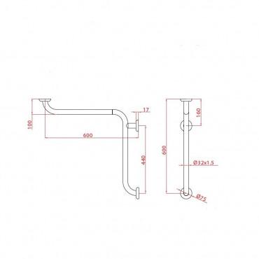 Poignée de douche d'angle Ital-Secure de Goman