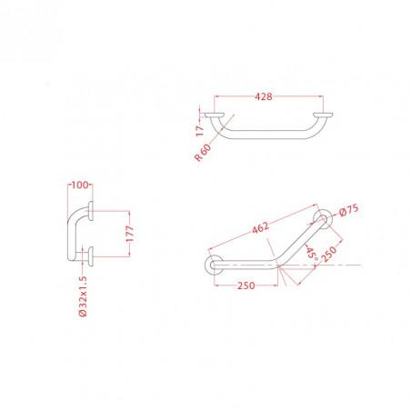 Dimensioni maniglioni bagno disabili Ital-Secure by Goman