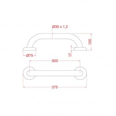 Dimensioni maniglione disabili inox 30 cm ItalSecure by Goman