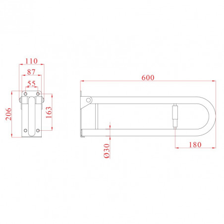 Dimensions poignée pliante en acier inoxydable pour personnes handicapées 60 Ital-Secure by Goman