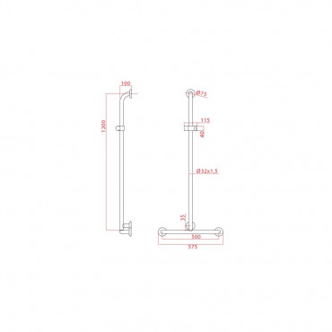 Poignée de douche avec rail coulissant et douchette Ital-Secure by Goman