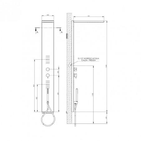 colonne de douche d'hydromassage Gaboli Flli Rubinetteria