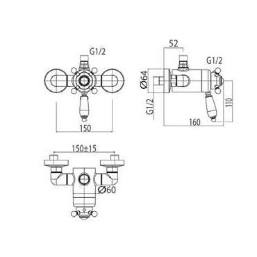 Miscelatore termostatico per doccia classica Gaboli Fratelli Rubinetteria