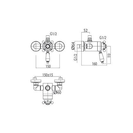 Thermostatic mixer for classic shower Gaboli Fratelli Rubinetteria