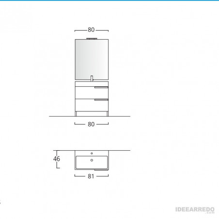 fiche technique meuble de salle de bain sur pied Mercury BMT Bagni