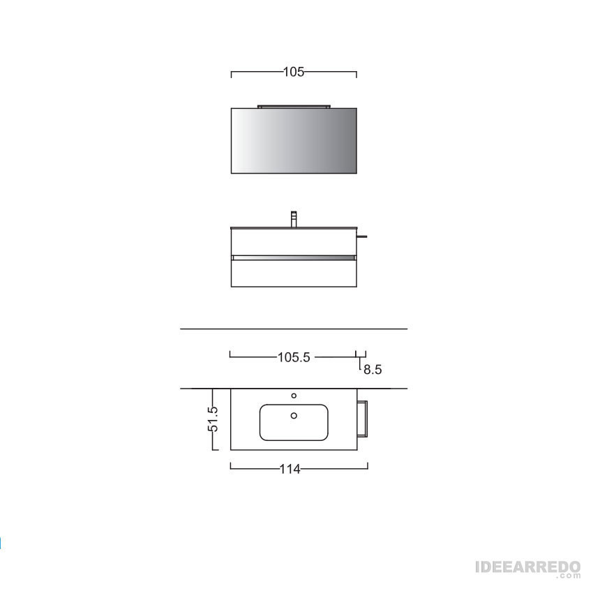 mobili bagno sospeso 100 cm MOON BMT Bagni