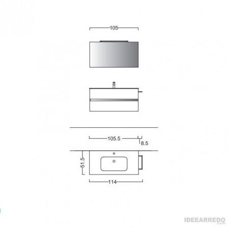 meuble de salle de bain suspendu 100 cm MOON BMT Bagni