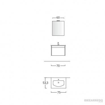 meuble de salle de bain suspendu mesure Mars BMT Bagni