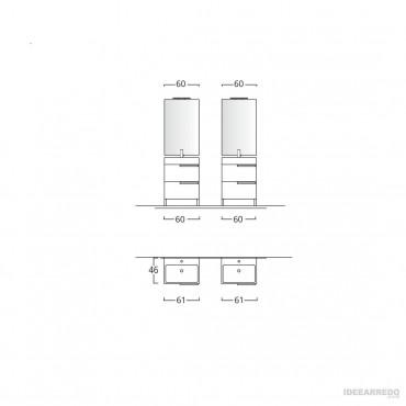 mobile bagno doppio lavabo scheda tecnica Mercury Bmt Bagni