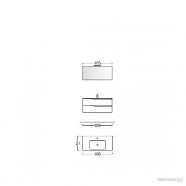 mobile bagno 100 cm sospeso Swing BMT Bagni