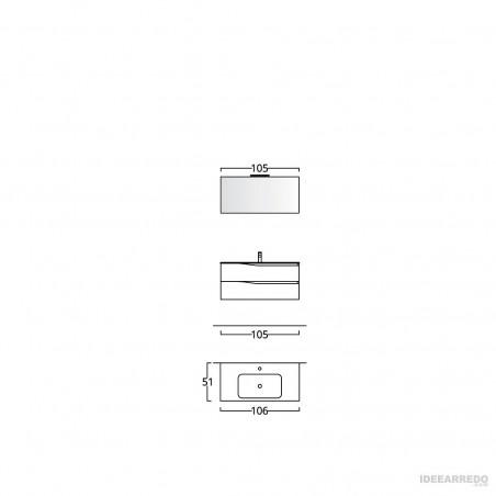 meuble de salle de bain 100 cm suspendu Swing BMT Bagni