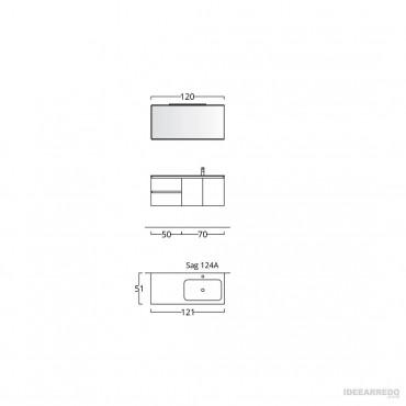 Meuble de salle de bain suspendu 120 cm BMT Bagni
