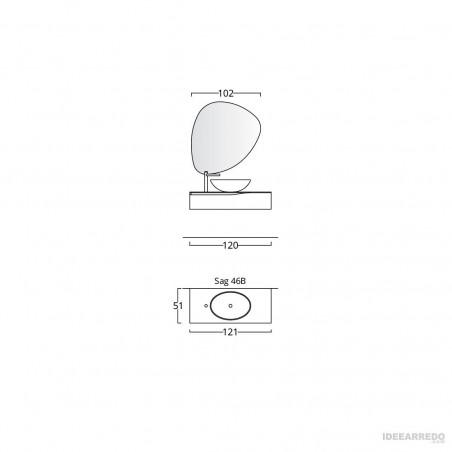 meuble de salle de bain suspendu 120 cm fiche technique Bmt Bagni