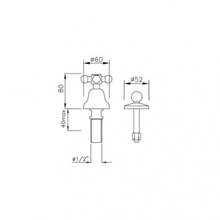 détails techniques robinet de bidet Noa 922 sans bec Gaboli Fratelli Rubinetteria
