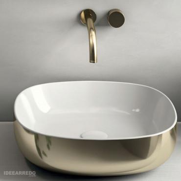 Lavabo de cerámica olympia dorado