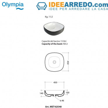 vasque à poser carrée design Olympia ceramica