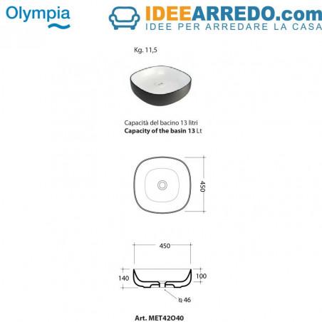 lavabo da appoggio quadrato disegno Olympia ceramica