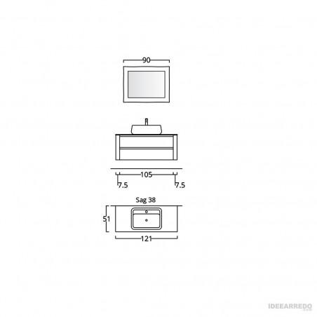 mobili da bagno sospesi scheda tecnica Bmt Bagni