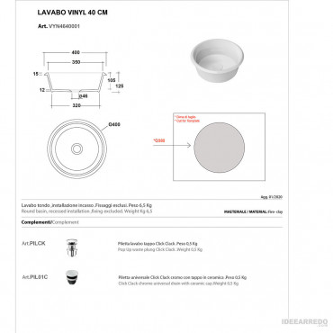 lavandino ad incasso misure Olympia ceramica Vynil