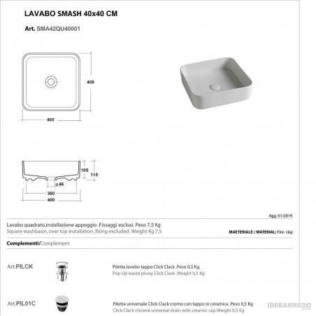 fiche technique évier carré Olympia ceramica Smash
