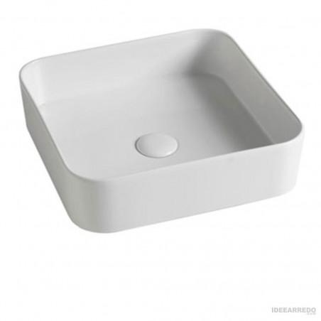 Lavabo de salle de bain carrée en céramique Smash Olympia