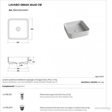 lavabi bagno da appoggio scheda tecnica Olympia ceramica Smash 40 cm