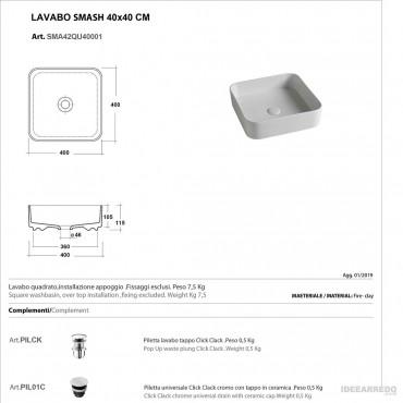 assis sur les vasques de salle de bain fiche technique Olympia ceramica Smash 40 cm