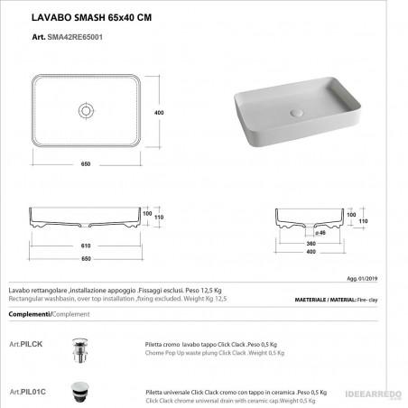 lavandino colorato scheda tecnica Olympia ceramica Smash 65