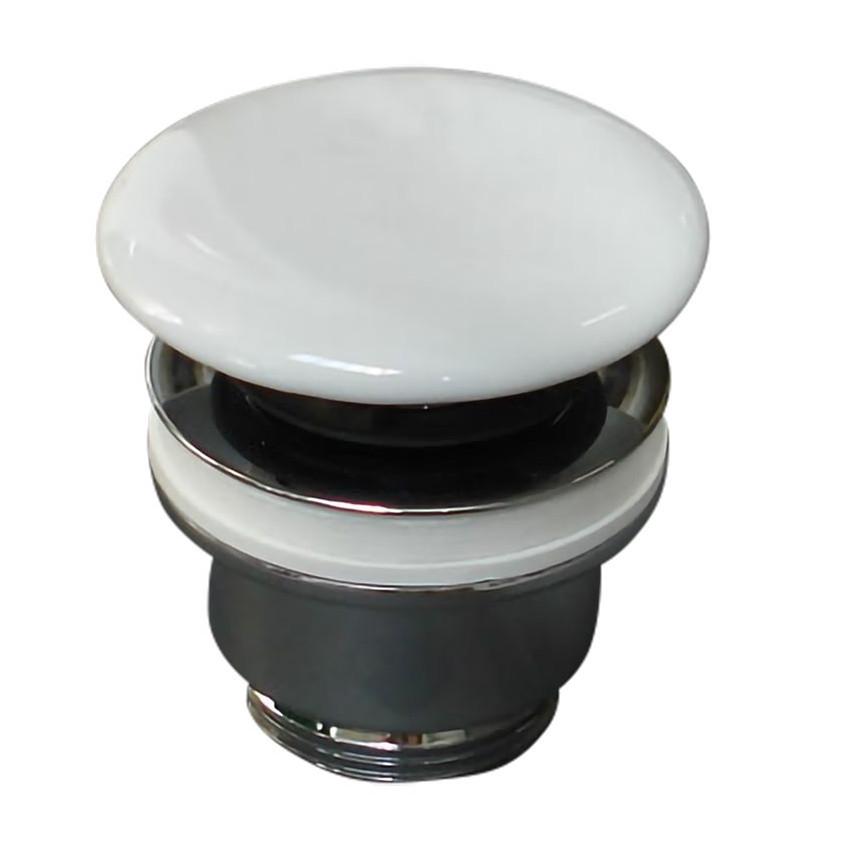 Olympia Ceramica glänzend weiß Klick-Klack-Keramik-Spülbeckenablauf