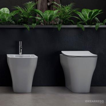 Sanitaire dos au mur avec drain traduit Synthesis Eco Olympia ceramica