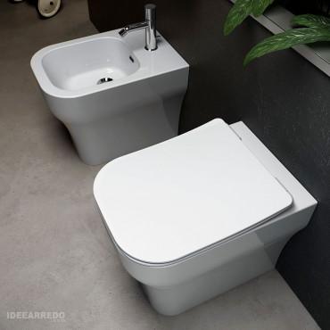coppia sanitari filo muro senza brida Synthesis Eco Olympia ceramica