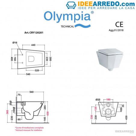 dimensione sanitari sospesi Crystal Olympia Ceramica