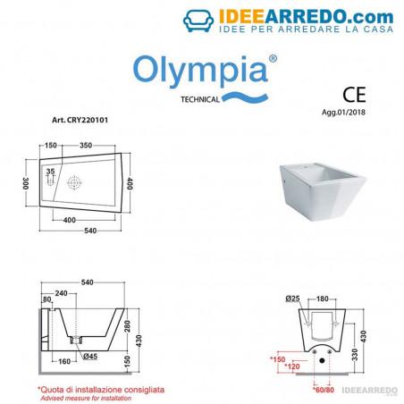 bidet sospesi misure Crystal Olympia Ceramica