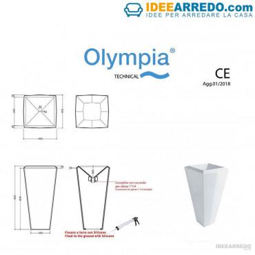 lavandino freestanding scheda tecnica Crystal Olympia Ceramica