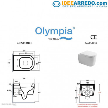 scheda tecnica sanitari rimless Tutto  Evo Olympia Ceramca